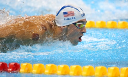 Michael Phelps during the heats at Rio.