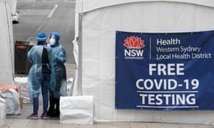 A walk up Covid testing clinic in Auburn, west of Sydney.