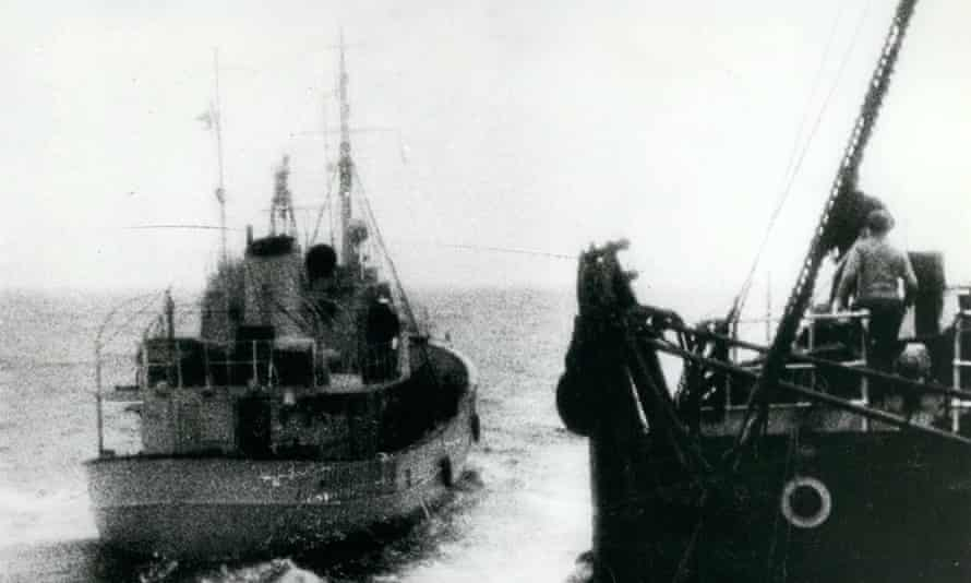 With the British fishermen off the coast of Iceland –gunboats try to enforce the 12-mile limit, 9 September 1958.