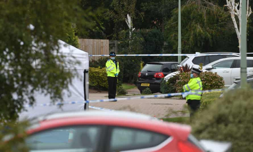 Police officers at the scene of the shooting on Friends Walk in Kesgrave