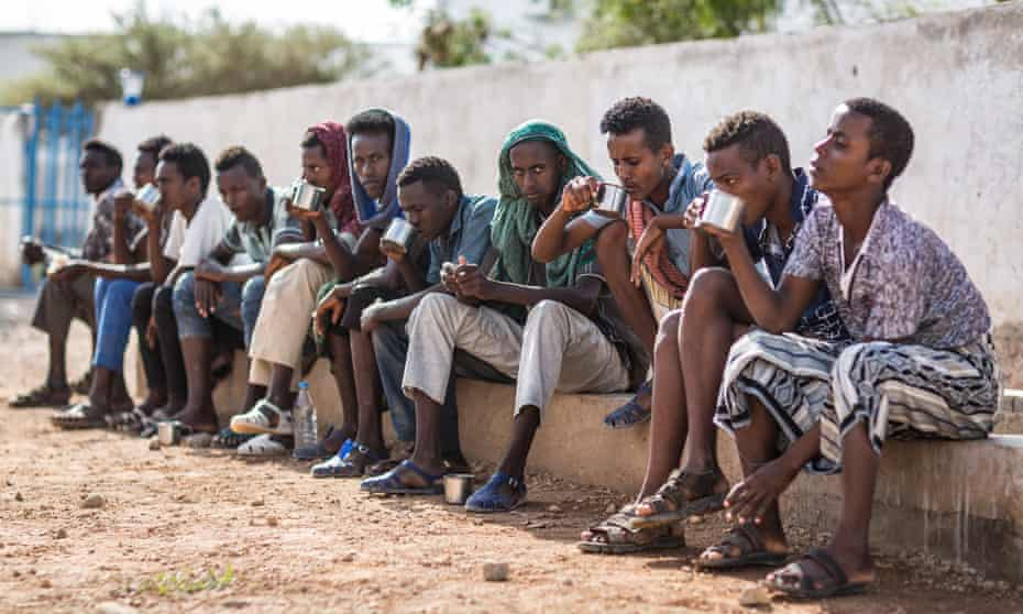 Ethiopian migrants at the IOM transit centre in Obock, waiting to return home.