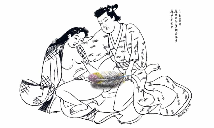 An image from Modern Shunga book by Matthew Martin: a feather censors intercourse.
