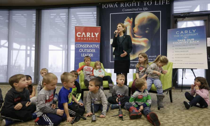 Republican presidential candidate Carly Fiorina is surrounded by preschool students as she speaks during the Iowa Right to Life presidential forum on Wednesday in Des Moines.