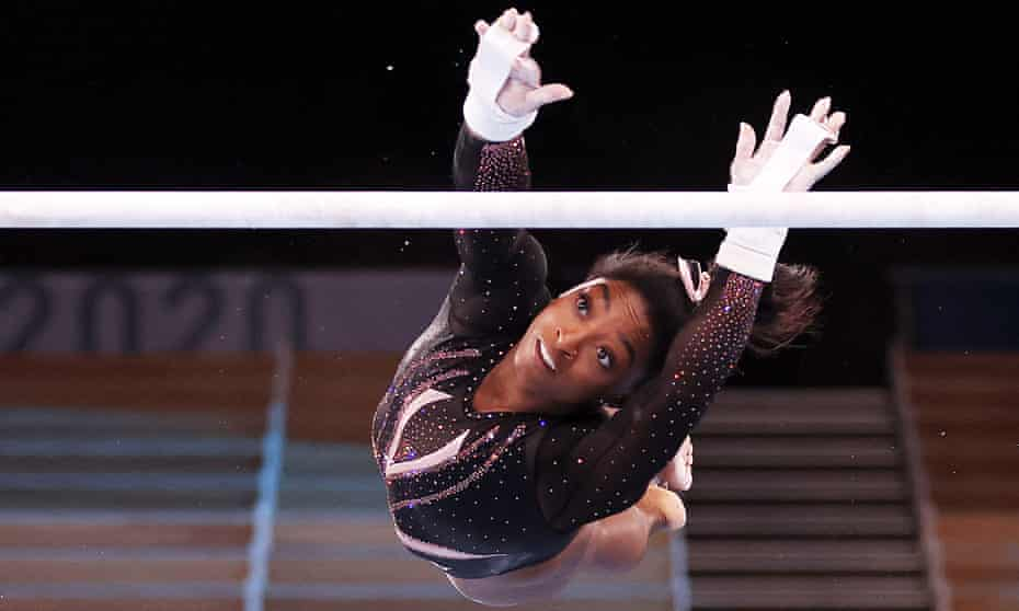 Simone Biles trains this week at Ariake Gymnastics Centre in Tokyo.