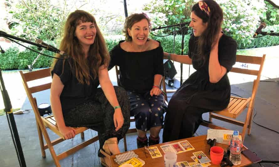 Litwitchure creators Jennifer Cownie, left, and Fiona Lensvelt, right, with writer Nina Stibbe, centre, at the Port Eliot festival.