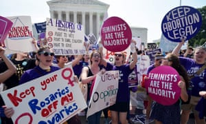Abortion rights activists celebrate outside the supreme court in June 2016 after it struck down a Texas law restricting abortion clinics.
