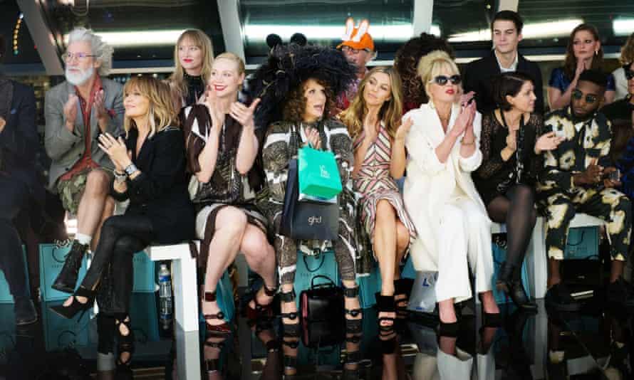 Front row, l-r: Lulu, Gwendoline Christie, Jennifer Saunders, Abigail Clancy, Joanna Lumley, Sadie Frost and Tinie Tempah.