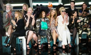 Ab Fab's front row, featuring Lulu, Game of Thrones's Gwendoline Christie, Saunders, Abigail Clancy, Lumley, Sadie Frost and Tinie Tempah.