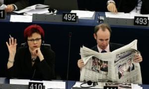 Daniel Hannan (right) in the European parliament