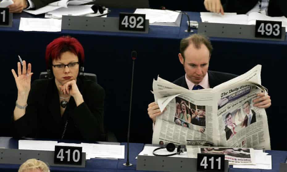Daniel Hannan reads the Daily Telegraph at the European parliament in Strasbourg, in 2005.