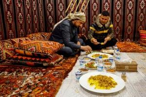 People eat truffles at Beit al-Hatab