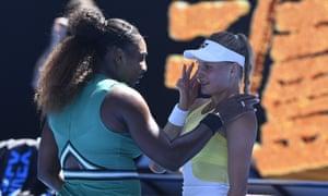 Serena Williams with her opponent Dayana Yastremska after their third-round match.