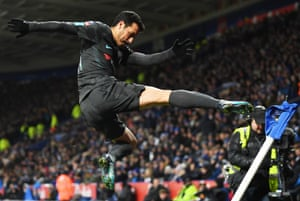 Chelsea's Pedro kicks the corner flag as he celebrates scoring the winning goal in extra time to beat Leicester 2-1 at The King Power Stadium and progress to the FA Cup semi finals.