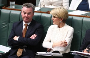 Folding arms: the foreign affairs minister, Julie Bishop, with the leader of the house, Christopher Pyne.