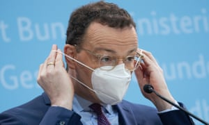 The German health minister, Jens Spahn, wears a FFP2 protective mask in Berlin, Germany.