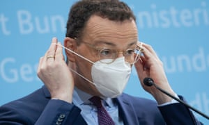 The German health minister, Jens Spahn, wears a FFP2 protective mask in Berlin, Germany. Photograph: Hayoung Jeon/EPA