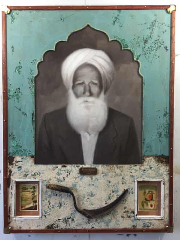 Family patriarch Puran Singh, in artwork by Jules Arthur.