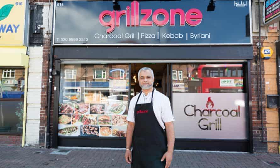 Roziur Choudhury outside Grillzone, in the east London suburb of Dagenham.