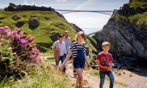 Visitors at Tintagel, ahead of the bridge's opening this weekend