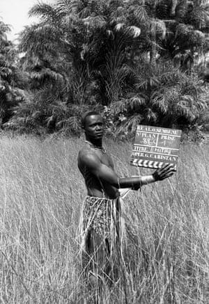 Crew member on the set of Emitai, 1971