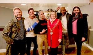 Bobby Berk, Antoni Porowski, Tan France, Karamo Brown and Jonathan Van Ness with Rowena Abbey, the mayor of Yass