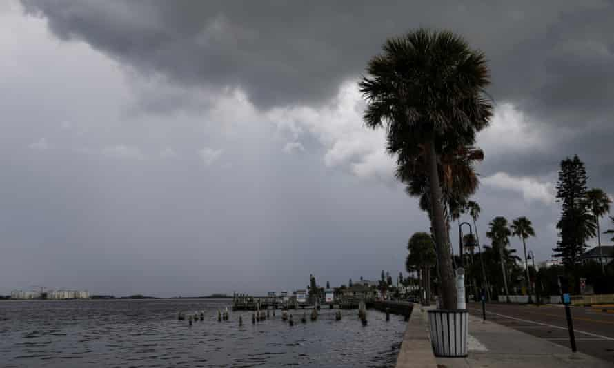 Dark clouds loom over the Pass-a-Grille Channel in St Petersburg, Florida, on Sunday.