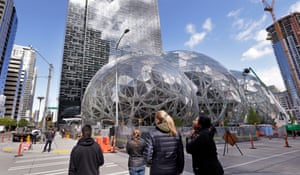 The Amazon Spheres, added to the Amazon campus in downtown Seattle, are Eden Project-style biodomes.