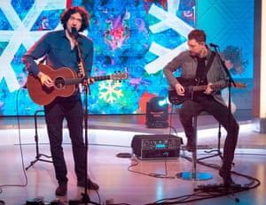 Gary Lightbody and Nathan Connolly performing on TV this month.