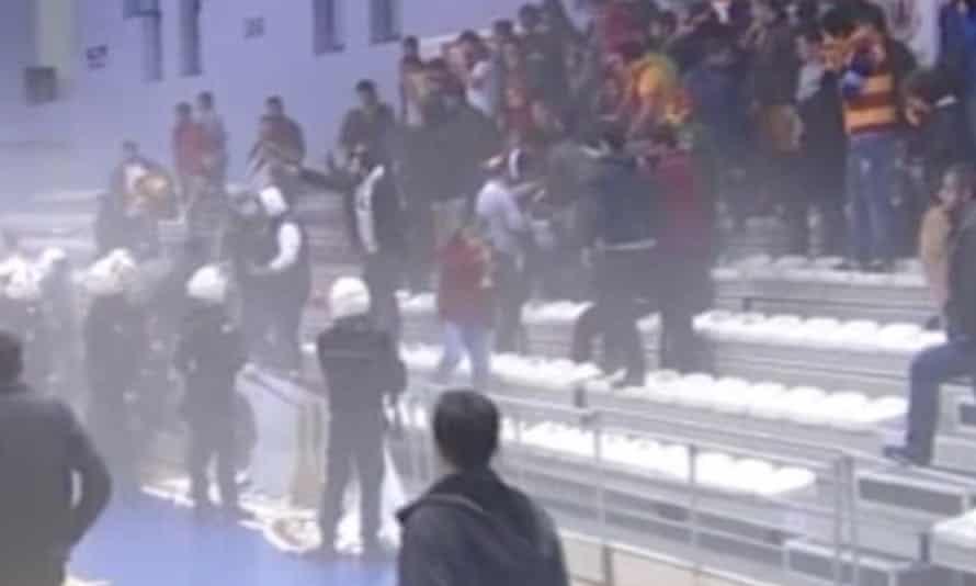 Wheelchair basketball brawl
