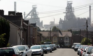 Port Talbot street with steelworkers