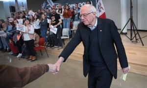 Bernie Sanders arrives for a campaign stop at Berg middle school on Saturday in Newton, Iowa.