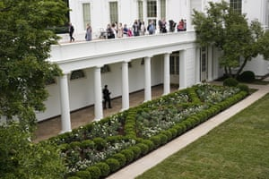 'Insipid classical collage' ... the restored Rose Garden, overseen by First Lady Melania Trump.