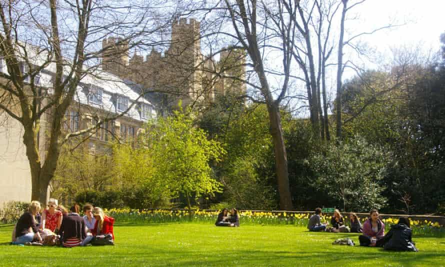 Bristol university students on grass