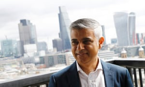 Mayor of London Sadiq Khan visits a new viewing platform during the unveiling of the New Tate Modern in London.