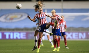 Manchester City Women v Atletico Madrid Femenino - UEFA Women's Champions League Round of 16: First Leg<br>MANCHESTER, ENGLAND - OCTOBER 16: Toni Duggan of Atletico challenges for the ball during the UEFA Women's Champions League Round of 16 First Leg match between Manchester City Women and Atletico Madrid Femenino at the Academy Stadium on October 16, 2019 in Manchester, England. (Photo by Simon Stacpoole/Offside/Getty Images)