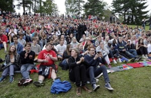 Youngsters gather for the opening of the summer camp
