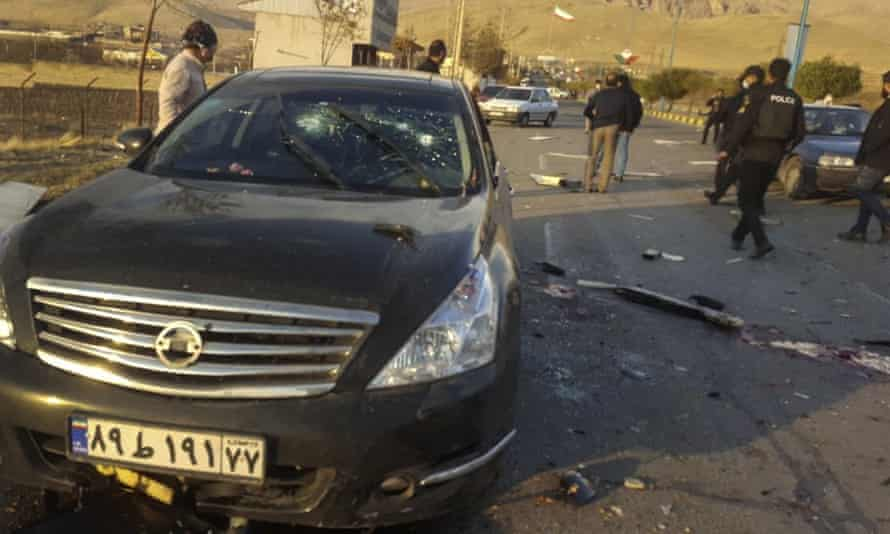 The scene of the attack on Iranian nuclear scientist Mohsen Fakhrizadeh near the capital Tehran on Friday.