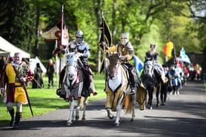 Knights lead a procession
