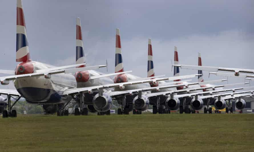 Grounded British Airways planes at Glasgow airport