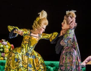 Claire Booth in the title role with Rachael Lloyd as Selene in Berenice at the Linbury theatre.
