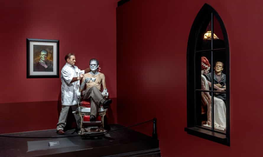 Mike Hill's sculpture of Boris Karloff being made up as Frankenstein.