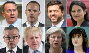 Tory contenders for leadership (clockwise from top left): Liam Fox, Dominic Raab, Stephen Crabb, Priti Patel, Nicky Morgan, Theresa May, Boris Johnson, Michael Gove.
