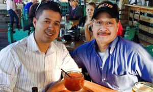 Patrick Zamarripa, one of the police officers shot dead in Dallas, Texas, pictured with his father Rick Zamarripa