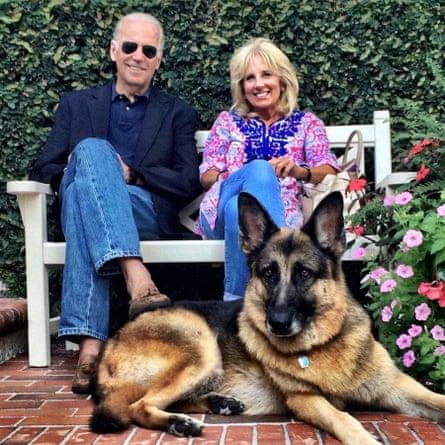 Joe and Jill Biden with their 12-year-old dog Champ.