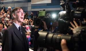 Jacob Rees-Mogg in front of the cameras.