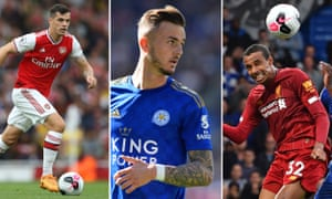 Granit Xhaka of Arsenal; James Maddison of Leicester City; Joel Matip of Liverpool