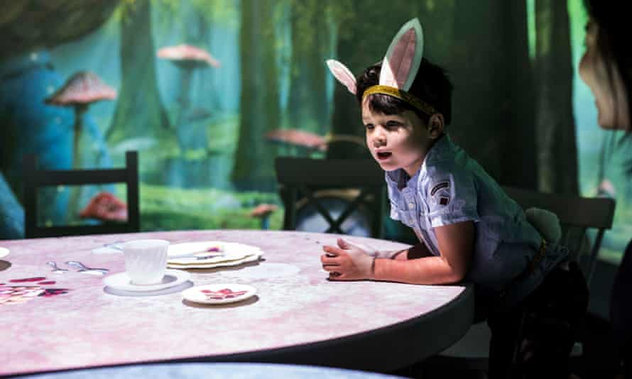 The Mad Hatter's Tea Party room at the Wonderland exhibition in Melbourne at Acmi