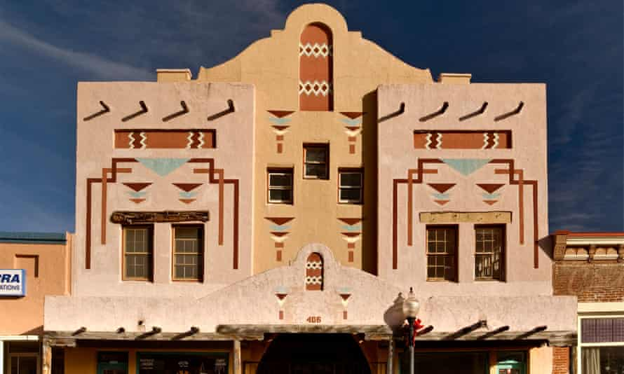 A building with motifs inspired by Native designs at Bullard Street in Silver City, New Mexico.
