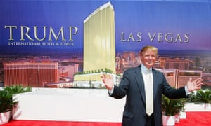 Donald Trump poses after a ceremonial groundbreaking for the 64-story Trump International Hotel & Tower in Las Vegas, Nevada.