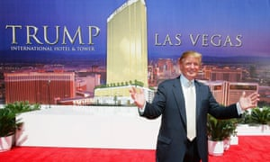 Donald Trump, poses after a ceremonial groundbreaking for the Trump International Hotel & Tower in Las Vegas in 2005.